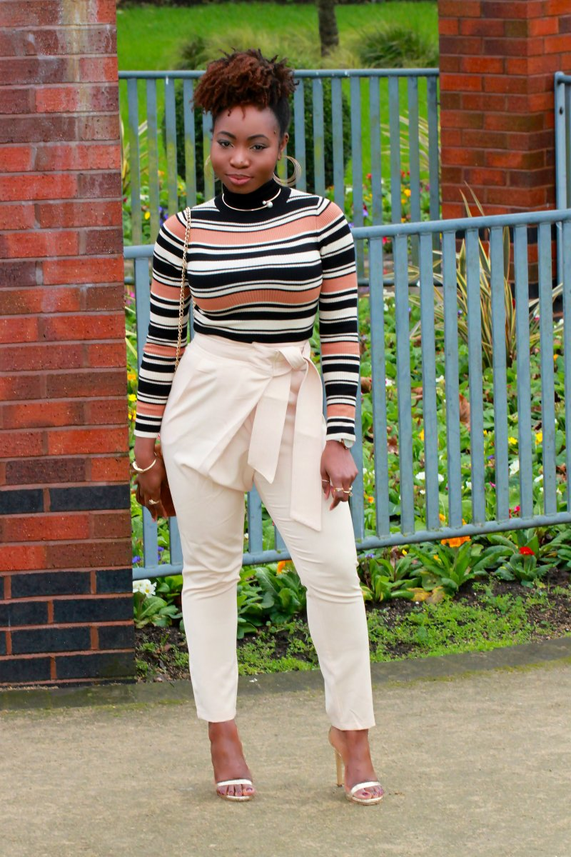 lavish alice belt trousers missguided striped jumper a