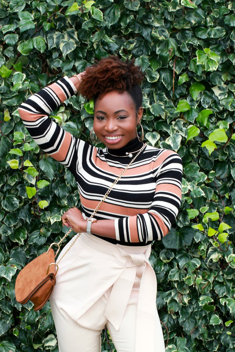 lavish alice peg trousers with tie belt natural hair blogger a