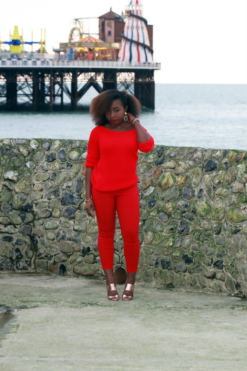 missguided chunky knit red sweater office mules a