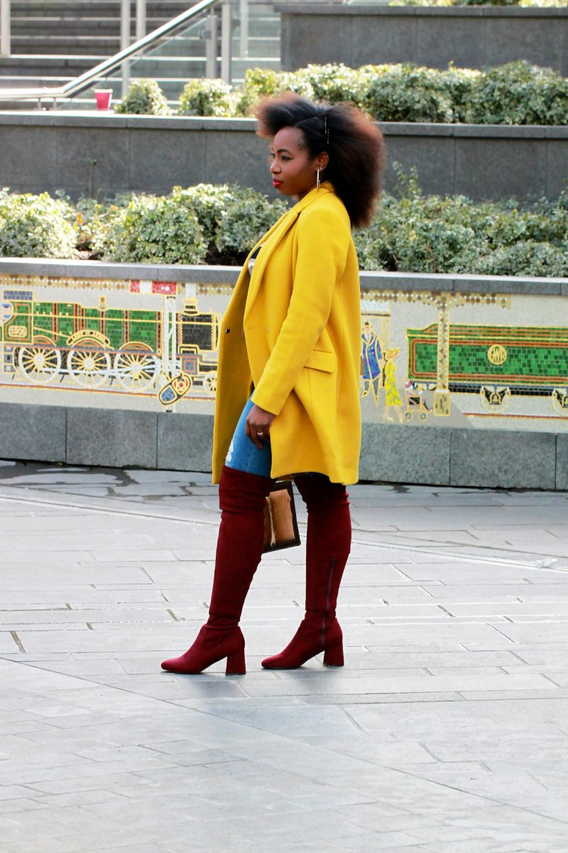yellow coat la redoute red thigh high boots outfit a