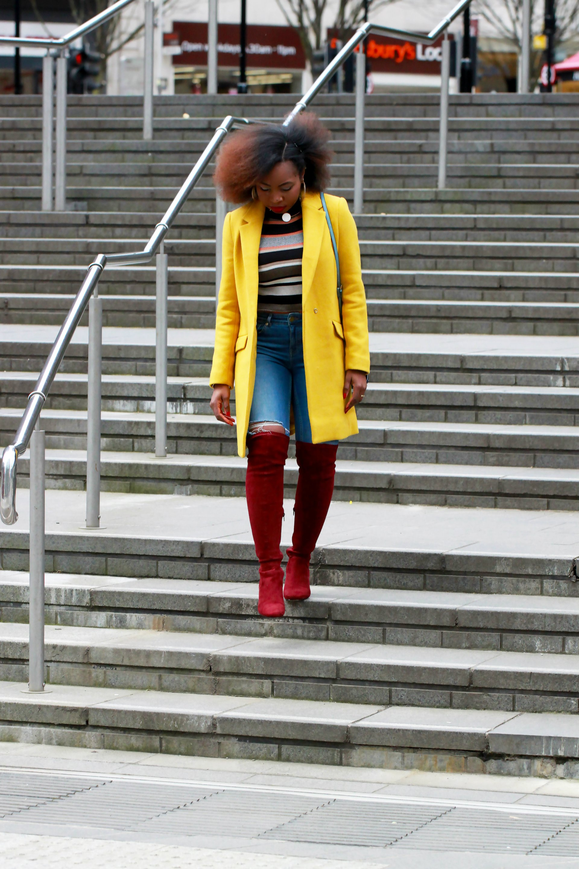 yellow coat outfit of the day a