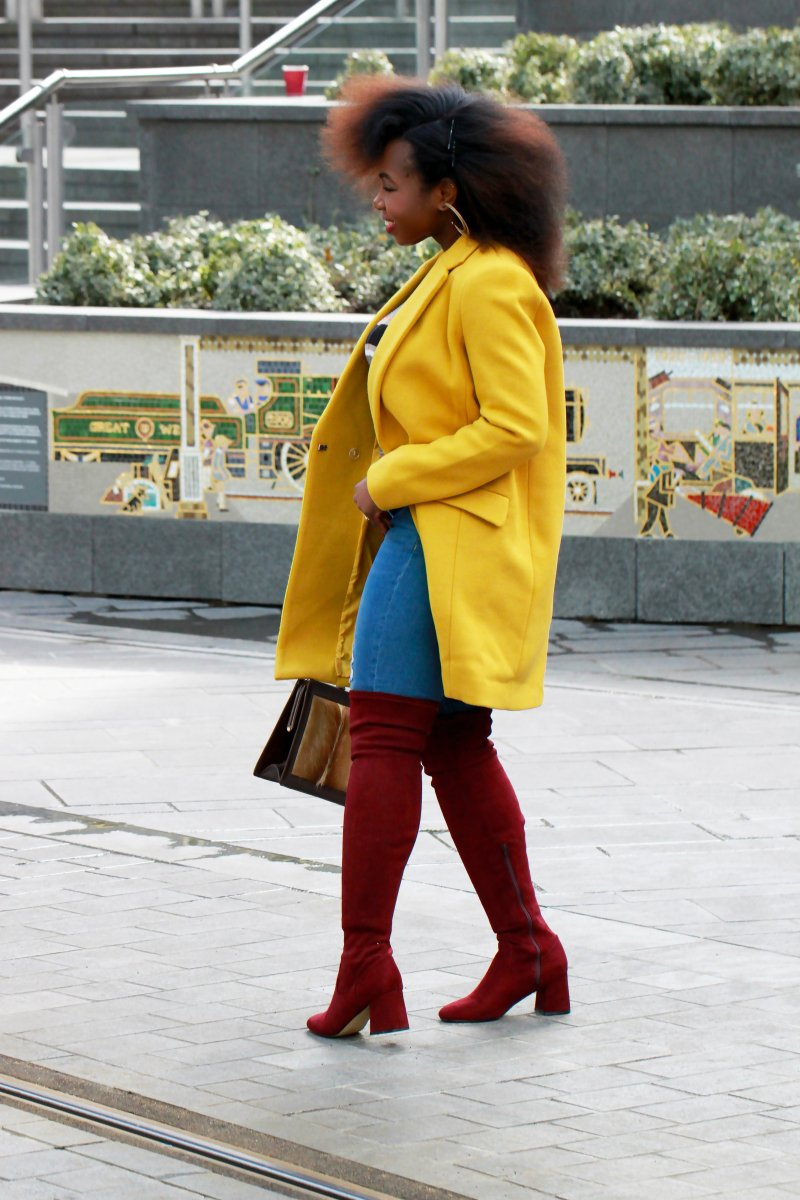 yellow coat wine over the knee boots a