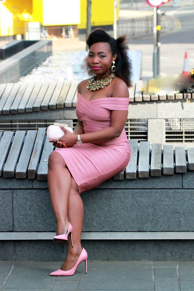 bandage midi dress pink on pink a