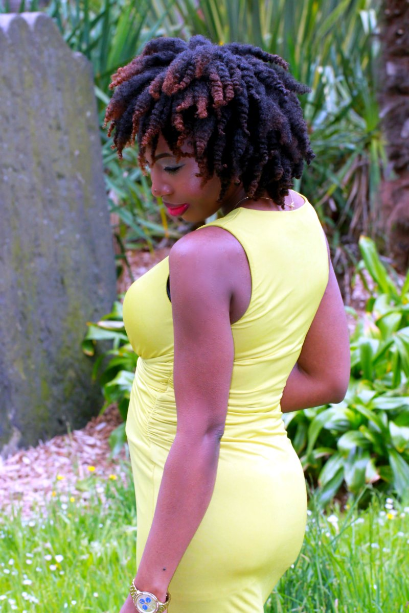 chartreuse asos wrap dress natural twist out a