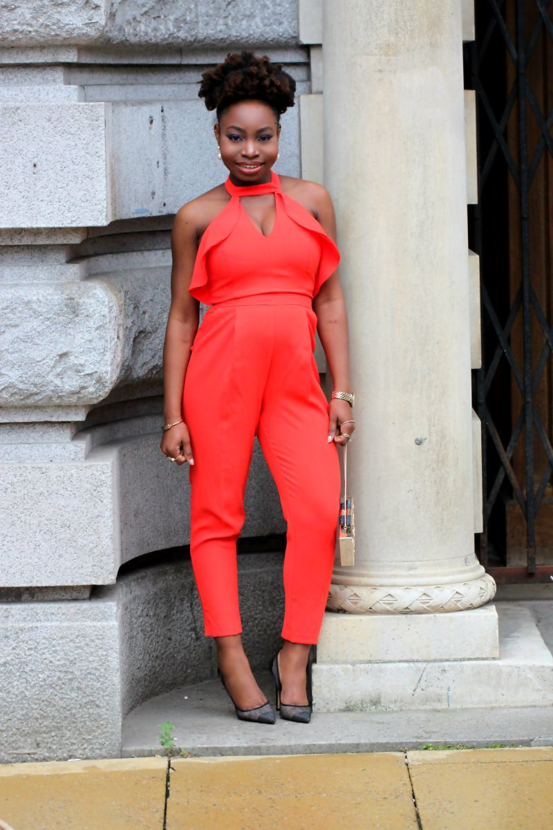 orange red jumpsuit outfit of the day a