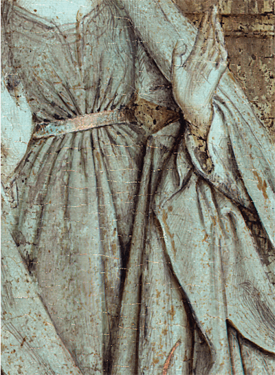 The underdrawing of Van Eyck's Annunciation shown in a false-color multispectral infrared reflectogram.