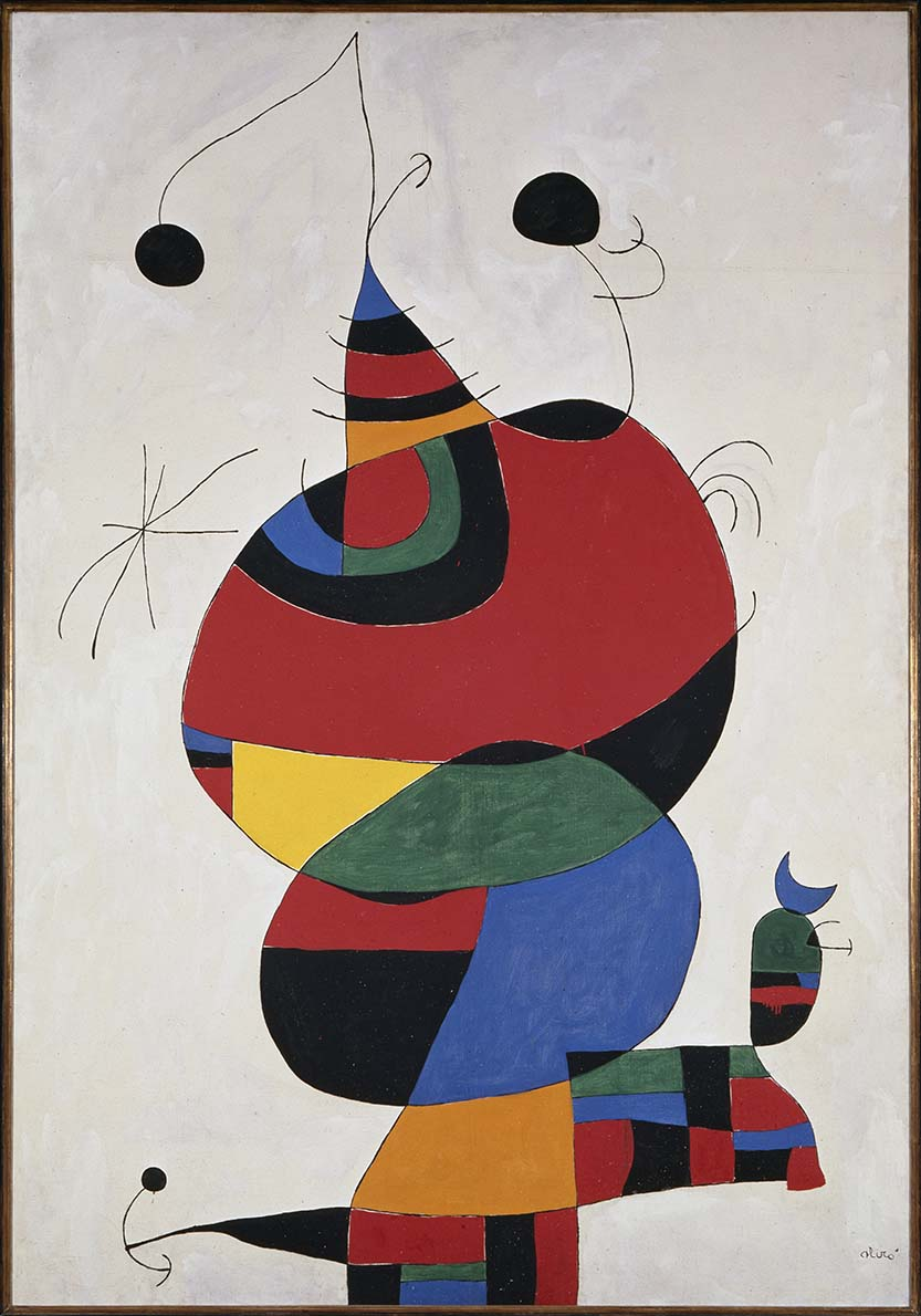 Woman, Bird and Star (Homage to Picasso), February 15, 1966 / April 3-8, 1973, Joan Miró, Spanish, 1893-1983, oil on canvas, 96 7/16 x 66 15/16 in., Museo Nacional Centro de Arte Reina Sofía. © Successió Miró / Artists Rights Society (ARS), New York / ADAGP, Paris 2014