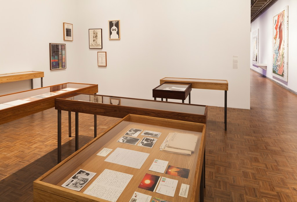 Installation view The Gregory Battcock Archive, 2009-14 by Joseph Grigley and  Rebecca Morris Installation view Whitney  Biennial 2014 ( March 7 – May 25, 2014), 2nd floor.  Whitney Museum of American Art,  New York.   Photograph by Sheldan C. Collins