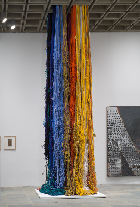 Installation view of Pillar of Inquiry/Supple Column, 2013-14 by Sheila Hicks and Notley, 2013 by Molly Zuckerman-Hartung. Whitney Biennial 2014, Whitney Museum of American Art, New York, March 7- May 25  2014. Collection of the Artist; courtesy of Sikkema Jenkins & Co., N.Y.; Collection of the artist; courtesy of Corbett vs Dempsey, Chicago.   Photograph by Bill Orcutt