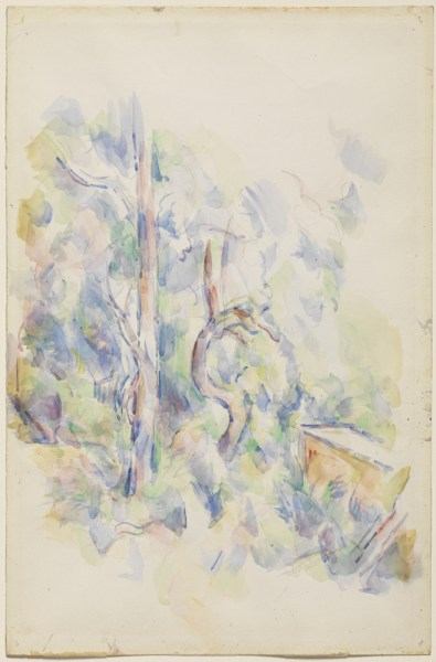 Paul Cézanne (French, 1839–1906), Trees and Cistern in the Park of Château Noir, 1900–1902. Watercolor and graphite on pale buff wove paper, 47.87 x 31.4 cm. The Henry and Rose Pearlman Foundation, on long-term loan to the Princeton University Art Museum