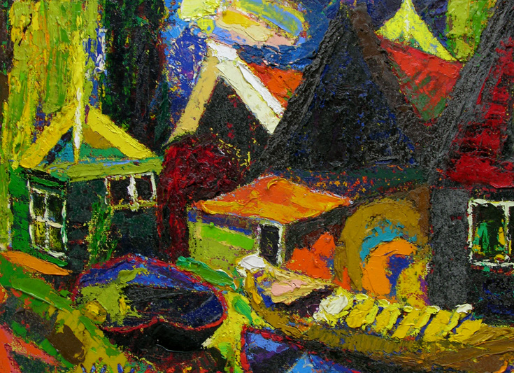 "Jan Willem van Assen, Monnickendam, 1995, Oil on Canvas, 8"" x 11"", © Artist Estate"