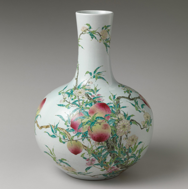 Chinese porcelain and ceramics like this one continue to inspire contemporary artists. Contemporary pottery still uses many shapes and motifs that derive from China. Vase with peaches, 18th century. Qing dynasty (1644–1911). Porcelain with overglaze enamels; H. 20 1/8 in. (51.1 cm). The Metropolitan Museum of Art, New York, Mr. and Mrs. Isaac D. Fletcher Collection, Bequest of Isaac D. Fletcher, 1917 (17.120.193)
