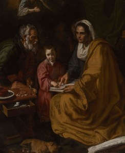 Artist: Diego Velázquez, Spanish, 1599–1660 The Education of the Virgin ca. 1617–18 Oil on canvas unframed: 168 x 136 cm (66 1/8 x 53 9/16 in.) framed: 207.01 x 175.26 cm (81 1/2 x 69 in.) Gift of Henry H. Townshend, B.A.1897, LL.B. 1901, and Dr. Raynham Townshend, B.S. 1900S