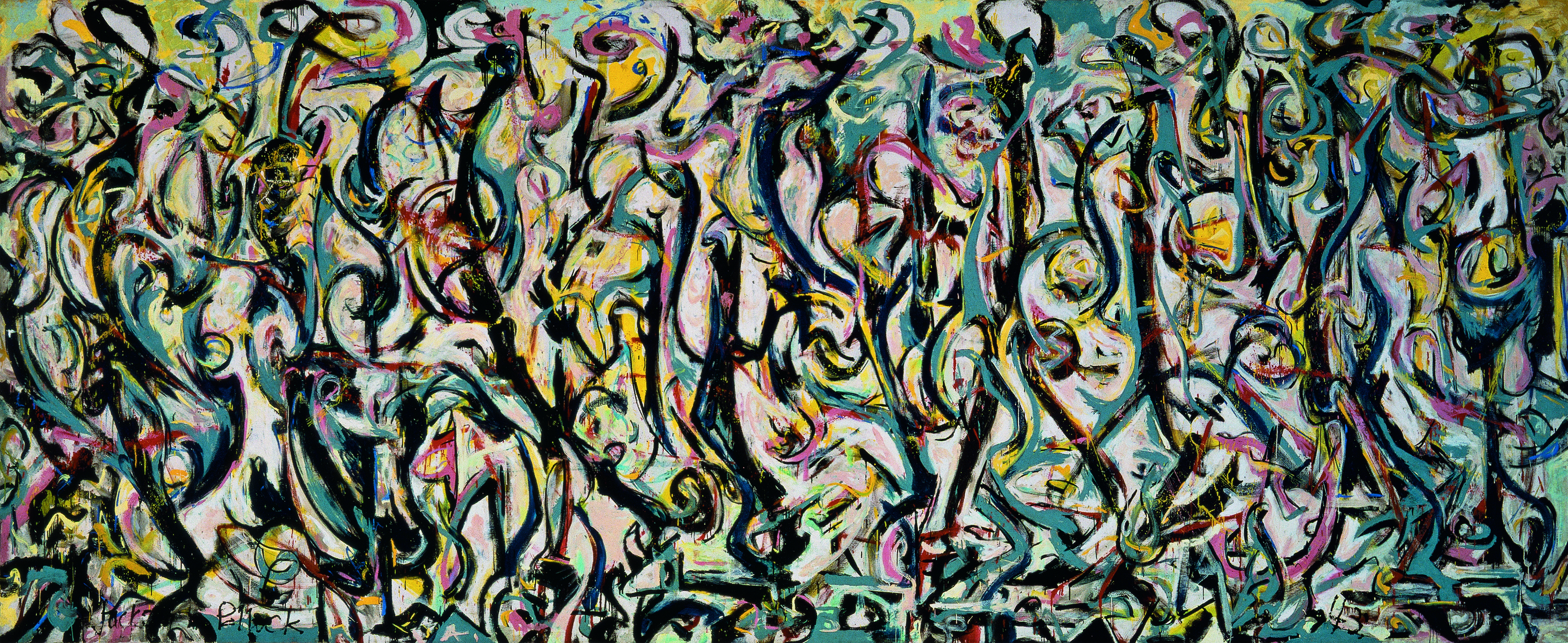 "Jackson Pollock Mural, 1943 Oil and casein on canvas, 7' 11"" x 19' 10"" Gift of Peggy Guggenheim, 1959.6 University of Iowa Museum of Art Reproduced with permission from The University of Iowa"
