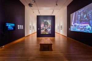 Installation view of En Plein Air: Abduction II, 2014, at Seattle Art Museum, Jacolby Satterwhite, United States, b. 1986, C-print in artist's frame, 84 x 60 in., loan from the artist and OHWOW Gallery, Los Angeles. © Seattle Art Museum, Photo: Nathaniel Willson.