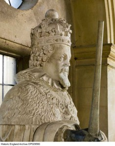 This statue of King James I, dating from 1622-24, adorned a niche on the south range of Apethorpe, but now stands indoors.