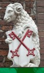 Sheep gate, entrance to the courtyard with almshouses in the city of Leiden, Netherlands
