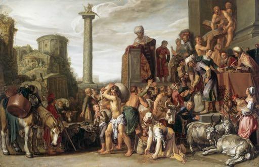 Pieter Lastman, Joseph trading Grain in Egypt, 1612