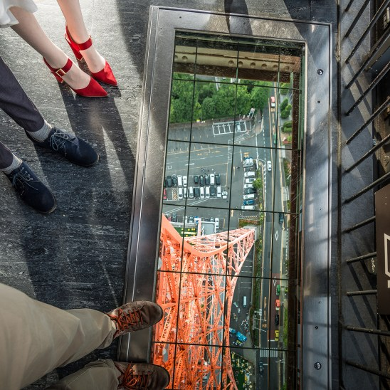 On Tokyo TV Tower, glass floor