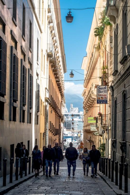 Towards the cruising ships harbor, Naples.