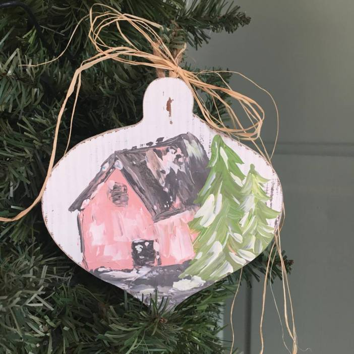 Get this one of a kind, shabby chic pink barn ornament for your Christmas tree! Exclusively at The Little Bluebird Gallery | Art by Amanda Hilburn #shabbychic #Christmas #ornament