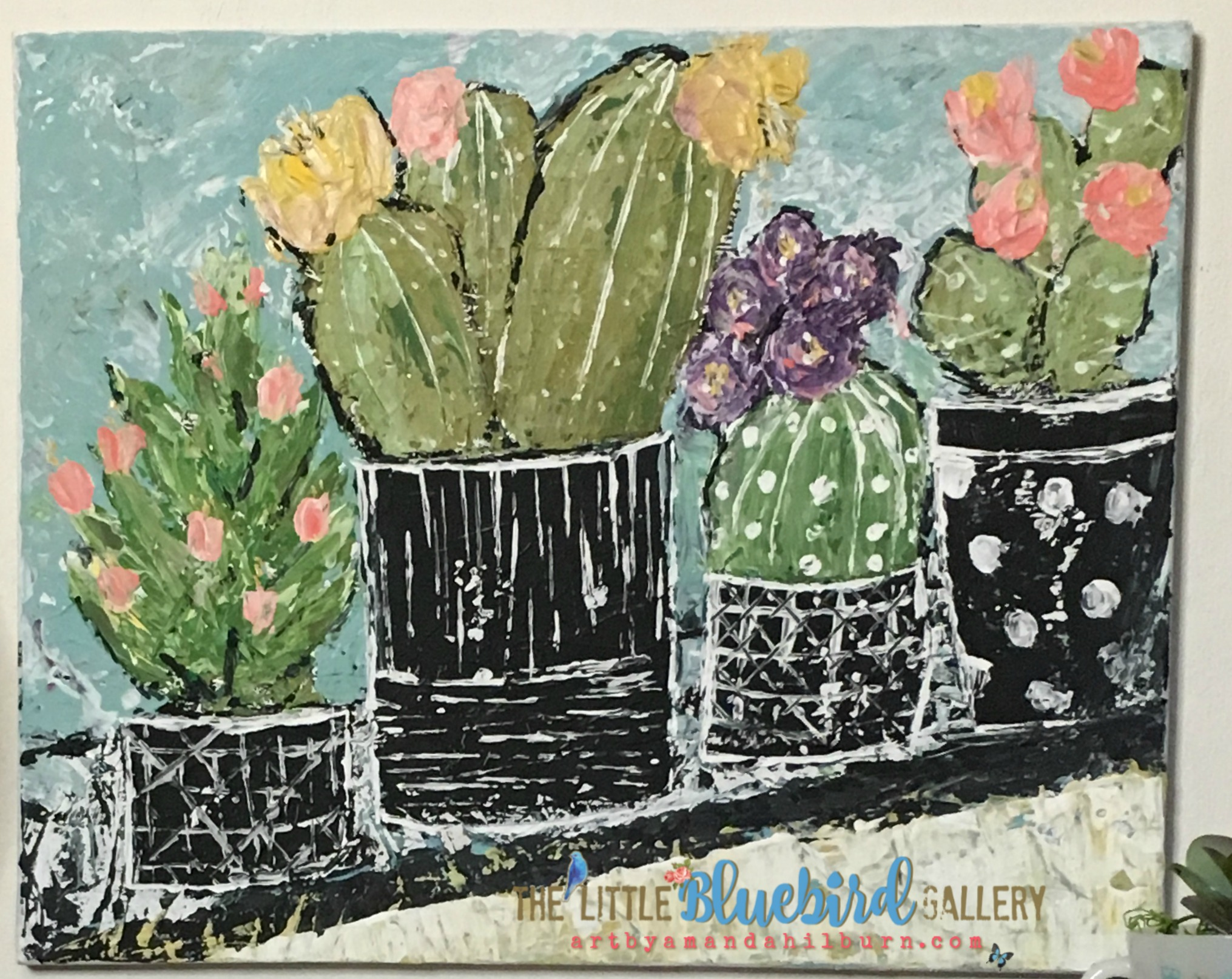 Potted Cacti; Original Acrylic Painting