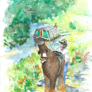 Narrowboat pulled by a horse