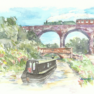 narrowboat and steam train