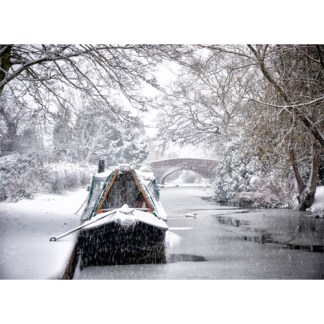 narrowboat in snow