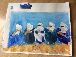 Blue men of Africa in ink and watercolor