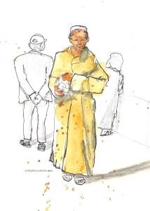 Berber market man walking