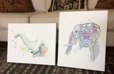 2 elephant paintings