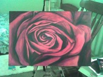 First Rose 20x15 Acrylic on Canvas SOLD