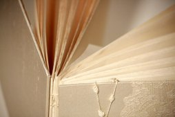 closeup ~Ivory Antique Alencon Lace Wedding Album by Art By Chapin