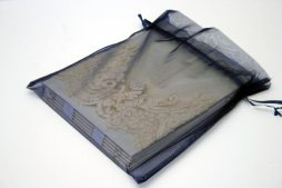 organza bag front Ivory Lace on Ivory Shantung with Tulle Book by ArtByChapin http://www.artbychapin.com/product/personalized-ivory-lace-wedding-photo-album-handmade-custom-wedding-book-glassine