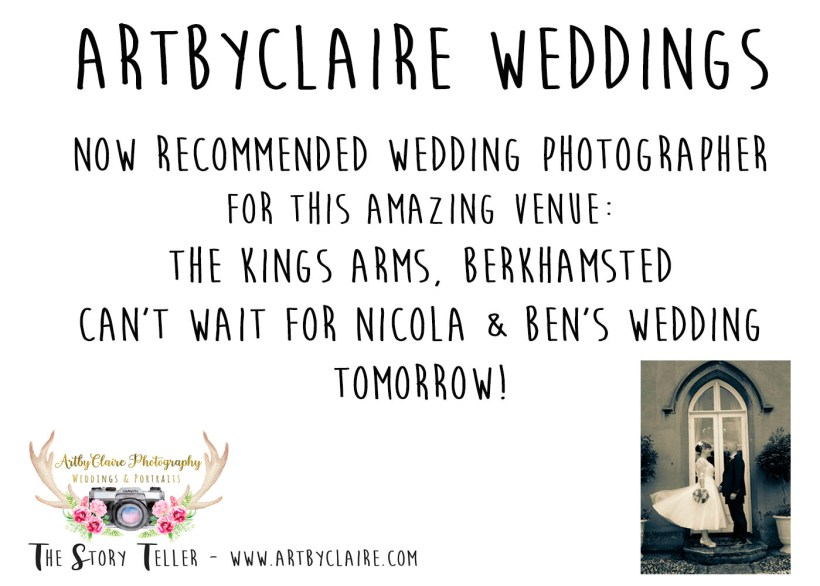 Recommended & trusted wedding photographer for The King's Arms Berkhamsted