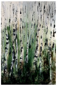 Acrylic. Paper Fabriano 400g 50x70cm - Summertime Birches.
