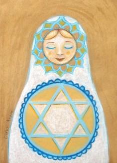 Russian Matryoshka gold white blue star of David net