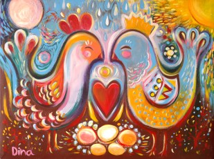 Folk birds red heart :: Price $800