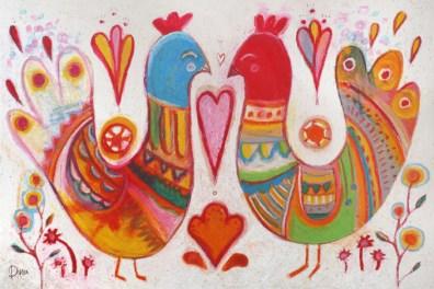 Folk birds pink heart :: Price $100
