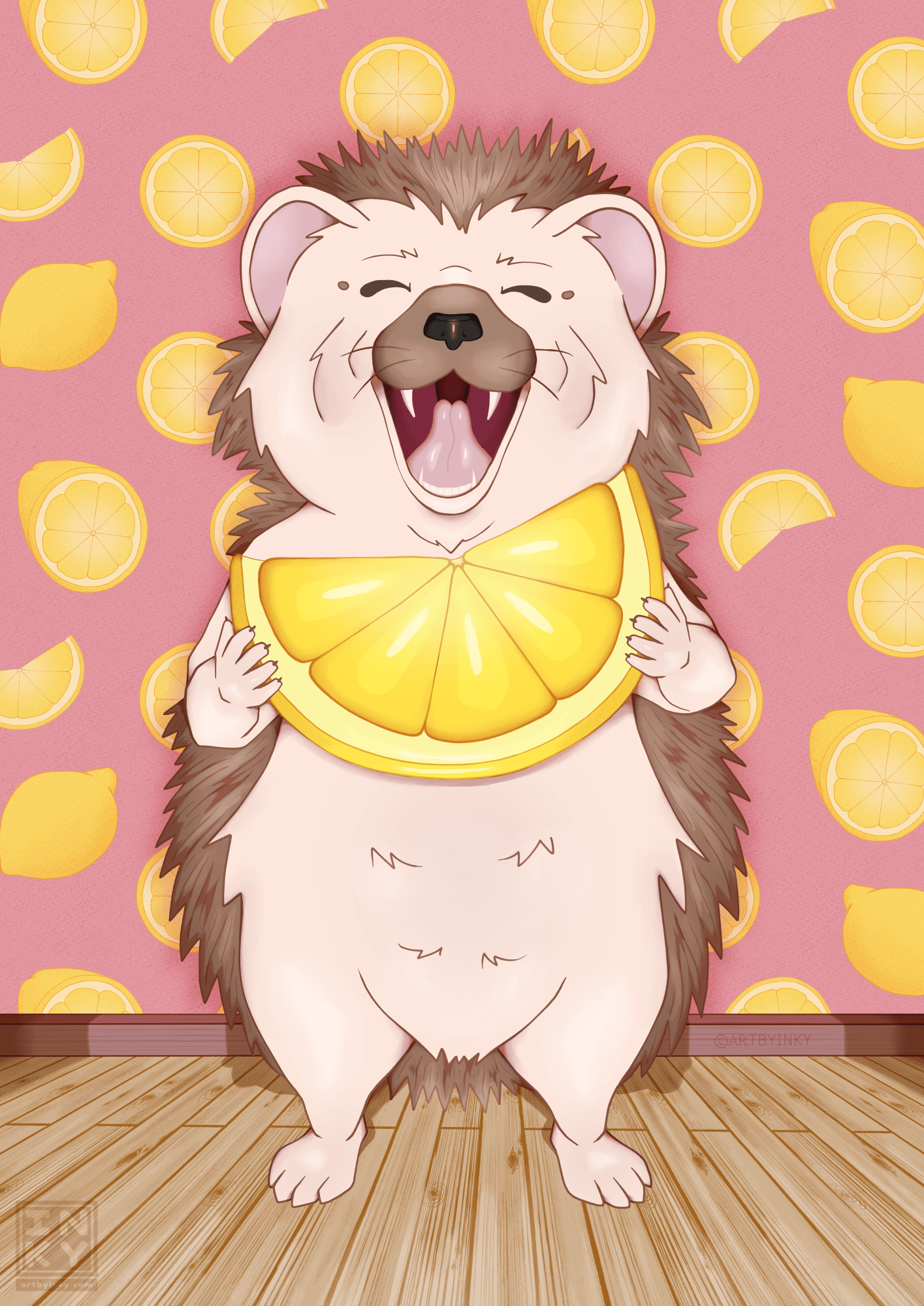 A hedgehog character in a room eating a lemon created by Aleesha Lindstrom.