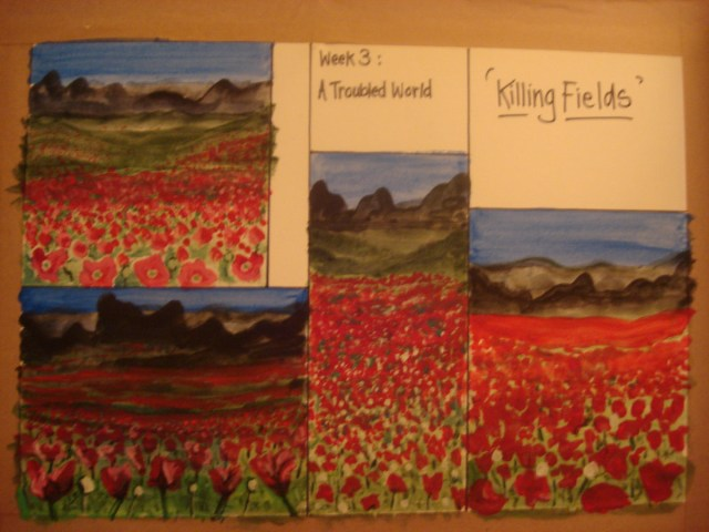 Killing Fields - A Troubled world - Painting sketches by Jacqueline Hammond