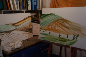 Paintings in progress by Jacqueline Hammond