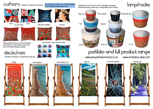 Art Print Deckchairs designed by Jacqueline Hammond for Smart Deco: a boutique-style collection of functional art pieces that combine beauty with purpose.