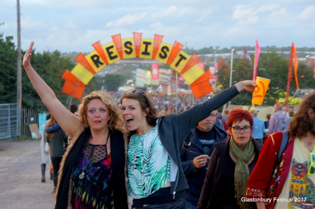 Festival goers getting into the spirit of Glastonbury 2017