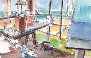 a pan and wash drawing of a studio with a sea view