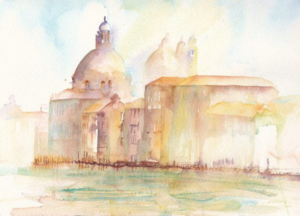 Venetian sunshine is a watercolour painting of the Grand Canal in Venice