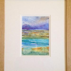 framed rich and textured watercolour landscape