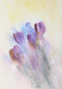 A giclee print of tulips watercolour painting