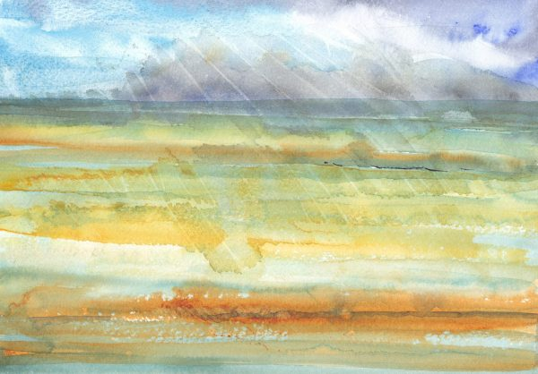 A calm and meditative landscape painted in watercolour